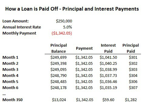 difference between principal paid and interest paid loan principal payoff example