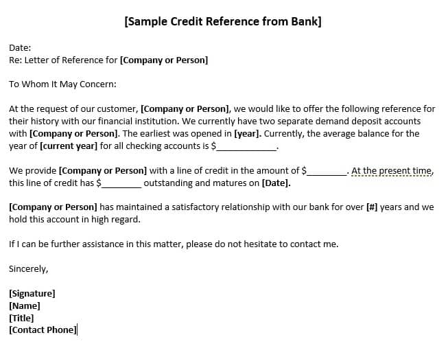 sample credit reference from bank