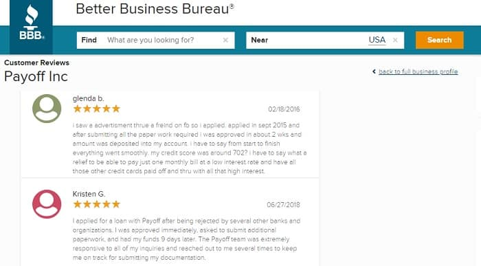 payoff loans reviews bbb
