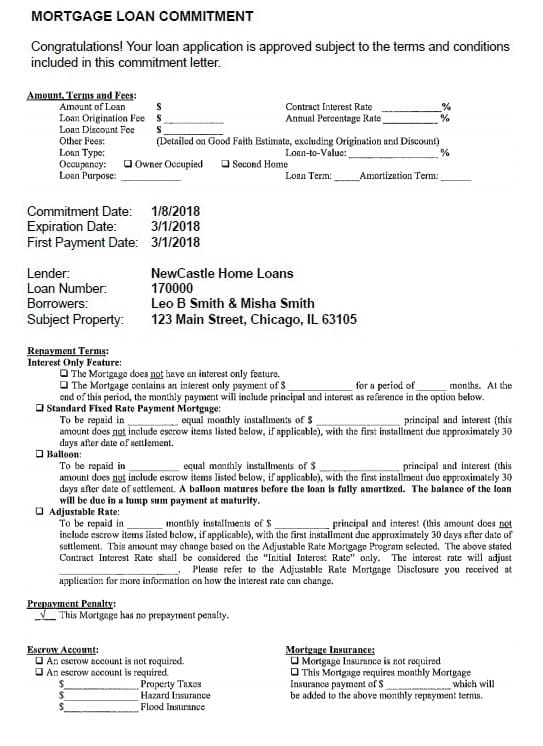 loan commitment letter example