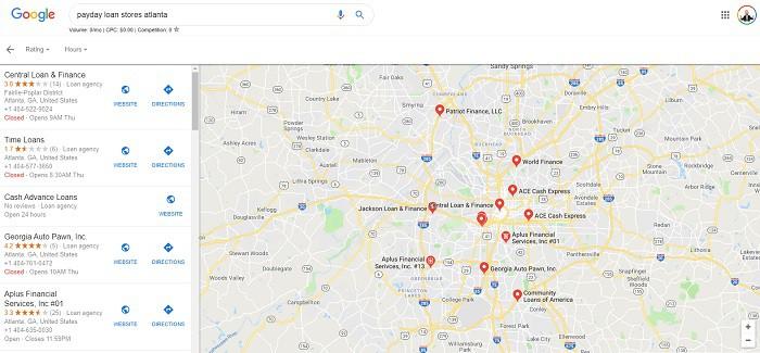 lojas de empréstimo do dia de pagamento na Geórgia